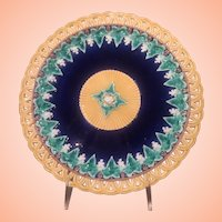 Wedgewood Plate With Pierced Edge In Bold Colors And Impressed Mark