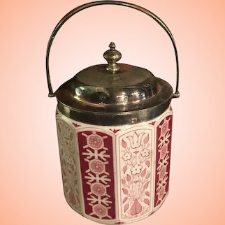 Biscuit Barrel In Red And White From England