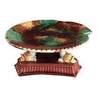 Majolica Shell Dish Sitting On Dolphins