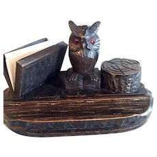 Black Forest Desk Set With An Owl, Card Holder, Inkwell, And Pen Holder