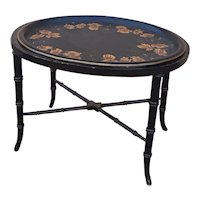 Antique Tole Tray With New Table Stand From England