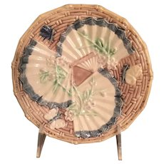 Majolica Plate With Fan And Butterfly Design Is From England