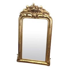 French Louis Philippe Mirror With Crest Of Cupids And Original Glass And Backing