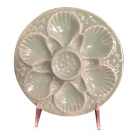 Vintage Oyster Plate In Celadon Color From Italy