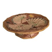 Majolica Pedestal Dish Or Dessert Dish With Fans And Butterflies