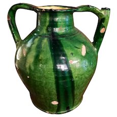 Large Confit Pot With Deep Green Glaze And Spout