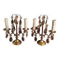 Pair Of French Crystal Candelabras/Girondales That Can Be Electrified
