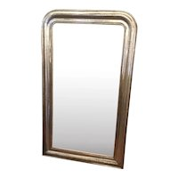 Louis Philippe French Silver Leaf Mirror With Original Glass And Backing