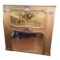 French Trumeau Mirror In Bleached Oak With Floral Still Life