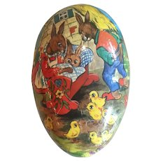 Vintage Paper Mache Easter Egg From West Germany With Baby Bunny