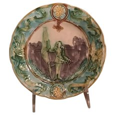French Majolica Plate With Glory, Honor, Freedom, And Patriotism