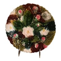 Majolica Strawberry Plate With Blossoms
