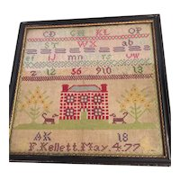 Sampler From The 1800's With Alphabet And Numbers
