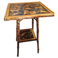 Bamboo Table With Dogs Decoupaged On The Top And Shelf