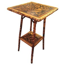 Bamboo Table With Decoupaged Shell Design