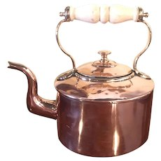 Antique Copper Kettle With Tin Lining And China Handle