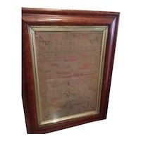 Sampler On Linen Dated 1778