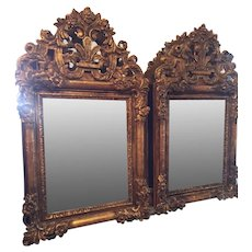 Pair Of Hand Carved And Gilded Mirrors Often Called Bridal Mirrors