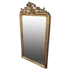 French Louis Philippe Crested Mirror In Gilded Wood
