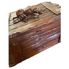 Black Forest Cigar Box With Carved Fruit On Top And Cigar Trays Inside