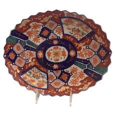 Imari Oval Platter With Scalloped Edge From Japan