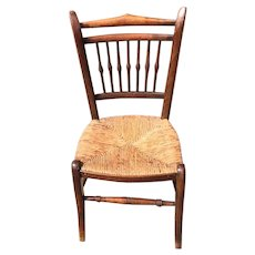 Child's French Chair With. Rush Bottom Seat