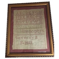 Antique Sampler Done In Linen From England