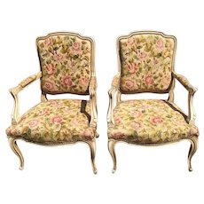 Pair Of French Chairs In Needlepoint