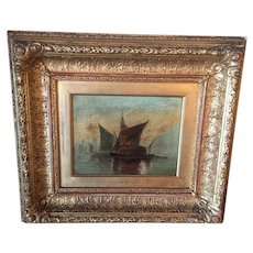 Antique Oil Painting Of Sailing Ships