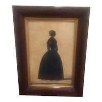 Antique Painted Portrait Sihouette From 1800's England