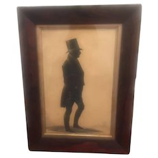 Portrait Silhouette Of Full Length Gentleman With A Top Hat
