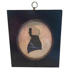 Antique Portrait Silhouette Of Gentleman In Wig