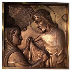 Bronze Plaque Part Of Stations Of The Cross From France