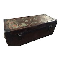 Leather Trunk Hand Painted And Tooled From England
