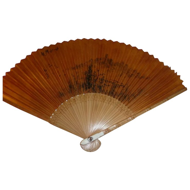 handpainted ink on paper antique chinese fan w bamboo sticks signed