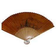 Handpainted Ink on Paper Antique Chinese Fan w. Bamboo Sticks Signed
