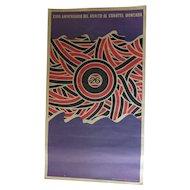 Vintage Cuban Revolutionary Poster XVIII Aniversario del Asalto al Cuartel Moncada