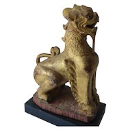 Pair of Vintage Gilt & Lacquered Wood Chinese Foo Dogs