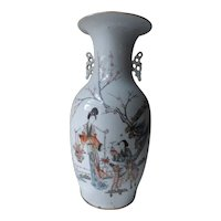 Antique Qianjiang Chinese Porcelain Vase Ma Gu Riding Deer With Peach & Crane & Calligraphy
