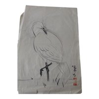 Vintage Chinese Painting Ink & Watercolor on Paper Grooming Crane Signed & Sealed