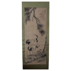 Fine Antique Japanese Nanga Scroll Painting Mori Kinseki 森 琴石 Pine & Cranes Signed, Dated, Seals