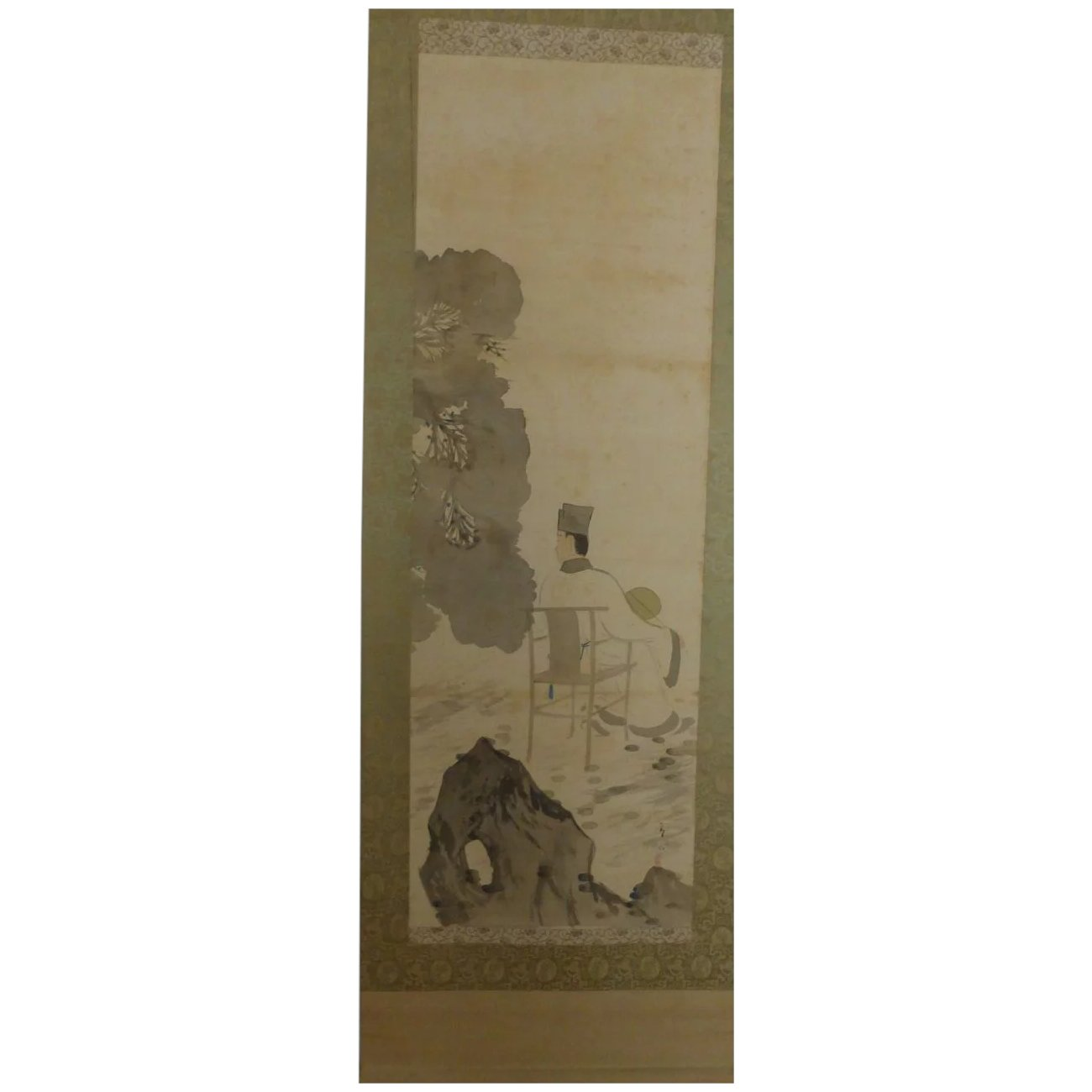 Antique Chinese Scrolls: 1930's Painting Scroll Of Chinese Scholar Holding Fan