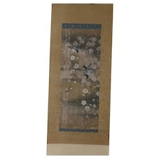 18th Century Japanese Scroll Birds on Hanging Blossoms