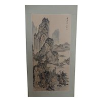 Vintage Chinese Painting Landscape Hanging Scroll Ink & Color Signed Sealed 陈凤