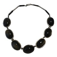 Taxco Mexico Los Castillo Vintage Necklace Sterling Silver Obsidian Rosewood Unusual
