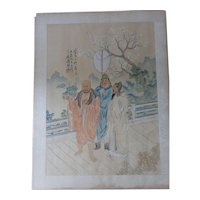 Antique Chinese Album Leaf Republic Qing Handpainted Buddhist Figures White Lotus Signed Seal