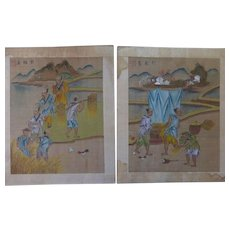 2 Chinese Antique Paintings Album Leaves Ink & Color on Silk Harvest Scenes Seals