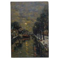 French 19th Century Painting J C Cazin Canal Scene in Winter Stunning