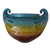 Massive Ault Pottery Aesthetic Egyptian Jardiniere Majolica Christopher Dresser Design Antique