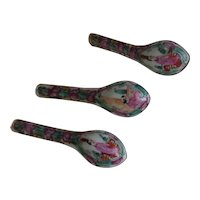 3 Vintage Chinese Porcelain Spoons Famille Rose